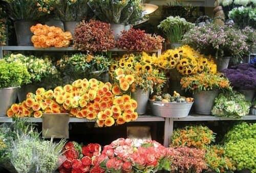 На фото пример оформления витрины в цветочном магазине
